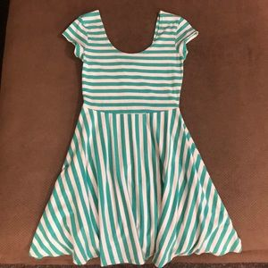 Teal and white striped dress